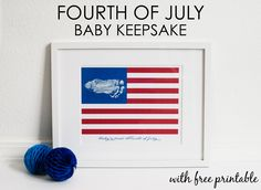DIY alert. Baby's Fourth of July printable keepsake with a simple foot or hand print.