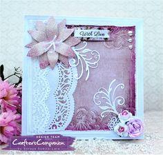 8 x 8 Card made using Sara Signature Shabby Chic Collection – Classic Lily Die. Designed by Soraya Sueiro- Lara #crafterscompanion