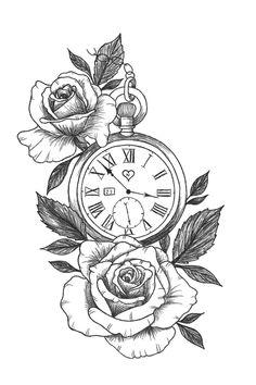 Pocket Watch Tattoo Design, Pocket Watch Tattoos, Clock Tattoo Design, Floral Tattoo Design, Tattoo Design Drawings, Tattoo Sleeve Designs, Tattoo Sketches, Sleeve Tattoos, Pocket Watch Drawing