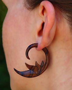 Fake Gauge Wood Earrings - Sensuous Feather Curls.