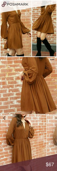 NEW! BOHO LONG SLEEVE PLEATED A LINE DRESS LARGE NWOT-RETAIL-COMES IN SEALED BAG. OLD BRICK-CLAY BROWN. Material- rayon. No stretch. Long sleeves. Above knee length. V neckline. A Line silhouette. Size Large. Bust:109cm. Waist:83cm. Length:89cm. 5 STAR CONSUMER RATING! DISCOUNTED BUNDLES AND FREE GIFT WITH EVERY PURCHASE! Boutique  Dresses