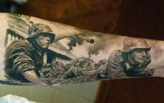 Realism War Tattoo by Den Yakovlev - http://worldtattoosgallery.com/realism-war-tattoo-by-den-yakovlev-4/