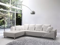 Divani Casa 2335 Modern White Bonded Leather Sectional Sofa Sofas And