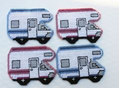 SALE Camper Coaster set of 4 in colors of rose and blues Yarn worked on plastic canvas with cork backing Plastic Canvas Coasters, Plastic Canvas Ornaments, Plastic Canvas Tissue Boxes, Plastic Canvas Crafts, Plastic Canvas Patterns, Beaded Cross Stitch, Cross Stitch Patterns, Cute Coasters, Canvas Designs