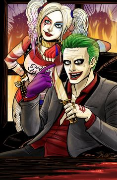 Harley and Joker from Suicide Squad. I had a blast drawing and coloring it.