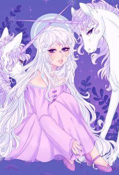 The Last Unicorn art > Lady Amalthea Unicorn Drawing, Unicorn Art, Fantasy Creatures, Mythical Creatures, Pretty Art, Cute Art, Anime Muslim, Unicorn Pictures, The Last Unicorn