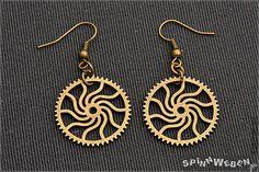 Sun Gears Earrings  steampunk bronze metal handmade by SpinnWeben