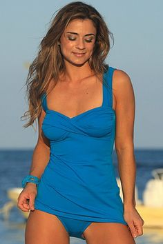 Turquoise tankini, conservative designer swimwear