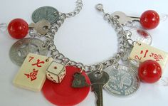 Playful Chunky Charm Bracelet - Fun Statement Junk Jewelry - Keys, Charms, Mahjong Tiles, Tokens & Big Beads
