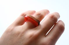 Ring made from Red Gum wood and red resin — BoldB by Britta Boeckmann