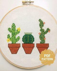 Cactus Cross Stitch Cactus Decor Cactus Home Decor Cactus Etsy Cactus Cross Stitch, Mini Cross Stitch, Simple Cross Stitch, Modern Cross Stitch, Cross Stitch Kits, Primitive Christmas, Christmas Cross, Father Christmas, Mini Cactus