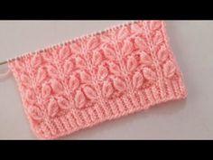 Leaf stitch Pattern For Ladies Cardigan Lace Knitting Patterns, Knitting Stiches, Knitting Videos, Stitch Patterns, Crochet Designs, Knitting Designs, Stitching Dresses, Crochet Bedspread, Diy Crafts Hacks