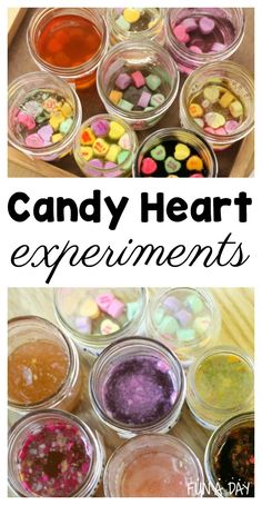 Try these candy heart experiments with the kids this Valentine's Day! The experiments are very easy to set up, with tons of scientific exploration and analysis for little minds. Includes a free printable recording sheet. #valentinesday #scienceexperiments #preschool #prek #ece #funaday #stem #preschoolscience #freeprintable