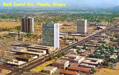 This 1963 view of the intersection of Central Osborn (lower left corner) shows (from left) Executive Towers apartments (completed at. Arizona History, Maricopa County, Close To Home, Phoenix Arizona, Ol Days, Good Ol, Tucson, Far Away, Central Park