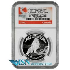 2014 Canada $5 Silver Bank Note Series - Northern Crown Bank Lion NGC PF70 UC ER     The third of four-coins in the Royal Canadian Mint's popular banknote series is an exceptional marriage of art history, engraving, and design, featuring one of history's most ancient symbols—the lion—as it was uniquely and romantically depicted in an early banknote vignette by Canada's Northern Crown Bank. Visit www.isnmoderncoins.com/33757