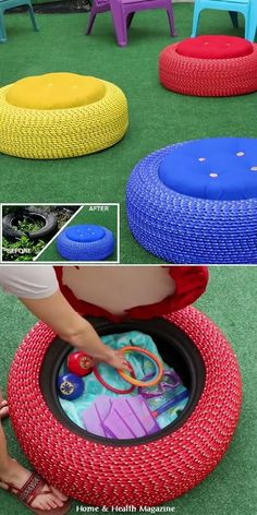 If you dream of a comfortable and practical the furniture in your yard, you just discovered a great idea how to create an old tire into a great footstool that fits perfectly into the environment of every yard or garden.