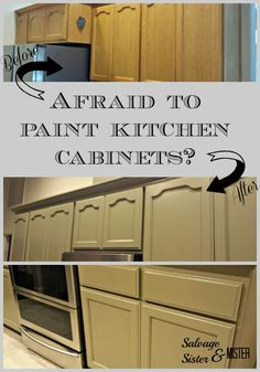 Afraid to Paint Kitchen Cabinets? - This DIY might not be as bad as you think,  With some tips, tricks, and info you can be on your way to new cabinets in no time.  Your kitchen will look fresh and updated without a complete remodel.  Plus, its an inexpensive option.  Salvage Sister and Mister