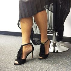 It seems our Style Experts are all fans of fringe! Catherine our EVP of Buying styles her fringe heels by @LouiseetCie  with a flowing sheer skirt, one of her must have items for Fall. #townshoes #fallfootwear #fringe #fallfashion #post