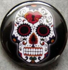 "SUGAR SKULL #1 pinback button badge 1.25"" Just $1.50 plus shipping!"