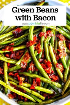 Green Beans with Bacon and Shallots is a simple and delicious side dish that's perfect for Thanksgiving, or any dinner! Get the recipe on UrbanBlissLife.com. #thanksgiving #sidedish Easy Thanksgiving Recipes, Holiday Recipes, Dinner Recipes, Vegetable Side Dishes, Side Dishes Easy, Bean Recipes, Side Dish Recipes, Creamy Pasta Bake, Hanukkah Food