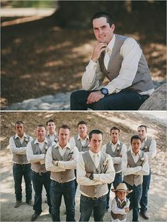 Tan vests paired with jeans makes for a put together sharp look that would blend seamlessly with any rustic wedding. See more of this ranch style wedding here. Captured by Brett & Tori Photographers Casual Groomsmen, Groomsmen Looks, Groom And Groomsmen, Groomsmen Outfits, Trendy Wedding, Wedding Styles, Dream Wedding, Garden Wedding, Wedding Ideas