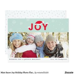 Shop Mint Snow Joy Holiday Photo Flat Card created by misstallulah. Joy Holiday, Holiday Photos, Holiday Cards, Christmas Cards, Create Your Own Invitations, Zazzle Invitations, Paper Texture, Mint, Snow