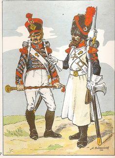 Tamburo maggiore e zappatore del 8 reggimento fanteria di linea francese nel 1813