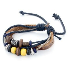 Pugster Multi-Strand Brown Leather Beads On Dark Blue Gray Jute Ropes Bracelet Pugster. $6.79. Gorgeous Earrings for stud style. Money-back Satisfaction Guarantee. Free Jewerly Box,Great to give away as presents, gifts to friends or family members.. For pierced ears. Meticulous fine jewelry craftsmanship. Save 20%!