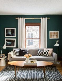 How Do I Choose a Wall Color? How Do I Choose a Wall Color? — FAHQs: Frequently Asked Home Questions. Enjoyable Decorating Tips For Small Living Spaces. Small Living Room Design Find out more at the image link. Living Room Green, Small Living Rooms, Living Room Interior, Home Living Room, Living Room Designs, Apartment Living, Dark Sofa Living Room, Living Room Wall Colors, Living Room Accent Wall