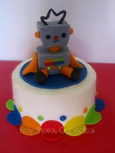another cake idea, except this robot looks sad.