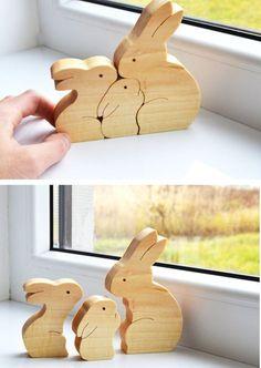 Vatertag Geschenk Holz-Kaninchen Holz Puzzle von LadyEvaDESIGN