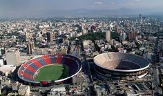 Soccer and bullfights Estadio Azul (left), a soccer stadium; and Plaza Mexico, the world's largest bullring, in Mexico City. Monuments, Great Places, Beautiful Places, South Of The Border, Venice Travel, México City, Aerial View, New Mexico, Travel Pictures