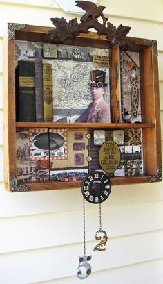 Steampunk Assemblage Shadow Box Collage Antique books photos Mixed Media vintage wooden flight on Etsy, $499.00