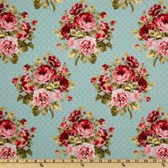 Large Roses & Dots Blue from @fabricdotcom  From Fabric Traditions, this cotton print fabric is perfect for quilts, home décor accents, craft projects and apparel.  Colors include pink, red, white, green and blue.
