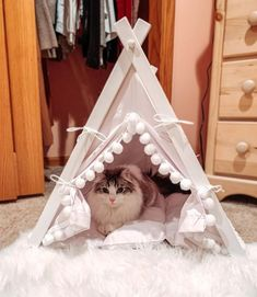 Boho White teepee by Dog&Teepee - more than just dog bed. Cozy space for Frenchie, Pug and Corgi. We've created a space that your fur babies will love calling home! Bed Tent, Teepee Tent, Cat Teepee, Dog Bed, Fur Babies, Toddler Bed, Cozy, Pets, Create