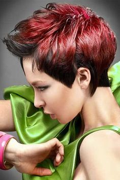 Show your beauty sense with this short choppy red hair style. Red is the latest trend when it comes to hair color and thus will surely replace black as the safest and default color
