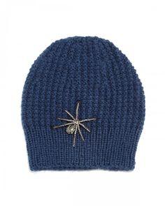 Jennifer Behr Crystal Spider Knit Beanie Hat Navy   Headwear and Accessory