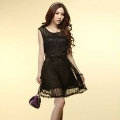 Graceful Delicate Lace Embellished Sleeveless Scoop Neck Lace Dress For Women