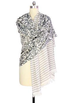 Grey Floral Stripes Duo Cotton Wrap