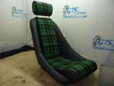 """the""""Nurburgring"""" seat in leather with plaid centers and matching headrest. Custom seats for classic cars by GTSclassics Classic Mercedes, Porsche Classic, Porsche Rsr, Custom Car Seats, Inside Car, Automotive Upholstery, Leather Car Seats, Mens Toys, Upholstery Trim"""