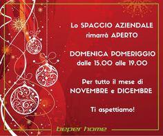 Lo SPACCIO AZIENDALE in via Salieri 30 (Vallese di Oppeano - VR) per i mesi di NOVEMBRE e DICEMBRE rimarrà aperto anche DOMENICA POMERIGGIO dalle ore 15.00 alle 19.00. Potrai trovare tutto il necessario per ricreare a casa tua la magia del Natale e tantissime idee originali per i tuoi regali. Ti aspettiamo!  @beperhome #november #december #christmas