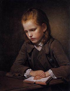 """""""Étudiant et son livre de leçons"""" de Jean-Baptiste Greuze (1725-1805) peintre et dessinateur français."""