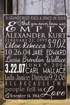 Personalized Family Grandkids Sign on Wood or Canvas Family Tree Large Family, Personalized Grandparent Sign Anniversary Gift Family Dates - works for a large family, too, not just grandkids Anniversary Crafts, Parents Anniversary, Happy Anniversary, Grandkids Sign, Grandkids Quotes, Homemade Signs, Homemade Art, Grandparent Gifts, Canvas Signs