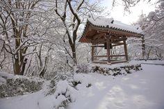 真っ白な雪におおわれた京都常寂光寺の鐘楼