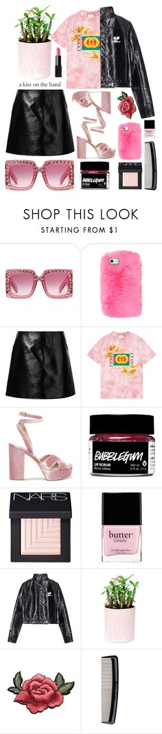 """Don't be jealous of my boogie"" by emmaadv ❤ liked on Polyvore featuring Gucci, Courrèges, Sam Edelman, NARS Cosmetics, Butter London and Denman"