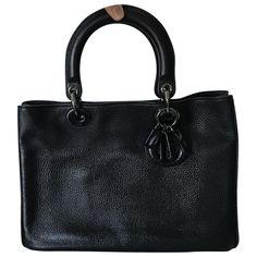 black Plain Leather DIOR Handbag - Vestiaire Collective
