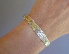 vintage engraved sterling silver bracelet by oldinkblue on Etsy, $38.00