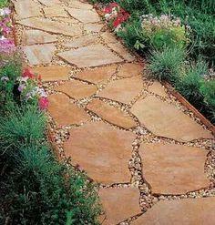 Flagstone garden path