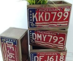 re purposed license plate planter boxes, repurposing upcycling