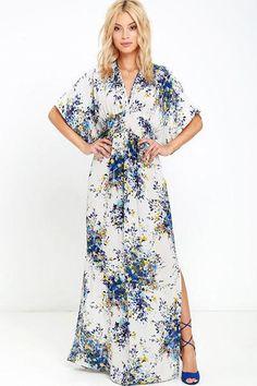 Wild Roses Kimono Dress - Blue - ShopLuckyDuck  - 3